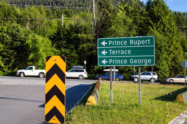 Northern BC Road Sign stock photo