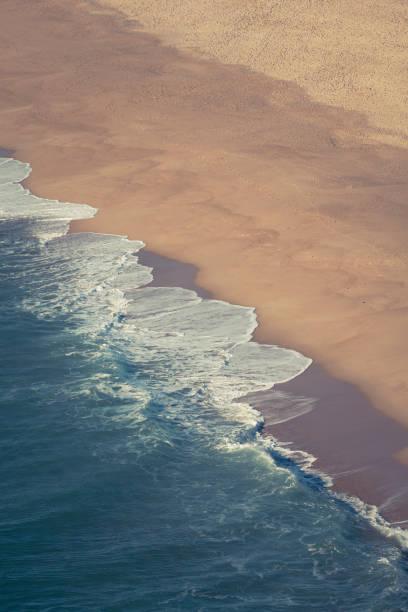 northern beach, nazare, portugal stock photo