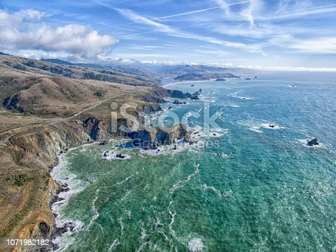 Northern California coastal aerial drone view of Pacific Ocean