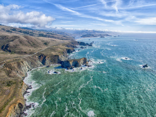 Northern California coastal aerial drone view of Pacific Ocean seascape Northern California coastal aerial drone view of Pacific Ocean rocky coastline stock pictures, royalty-free photos & images