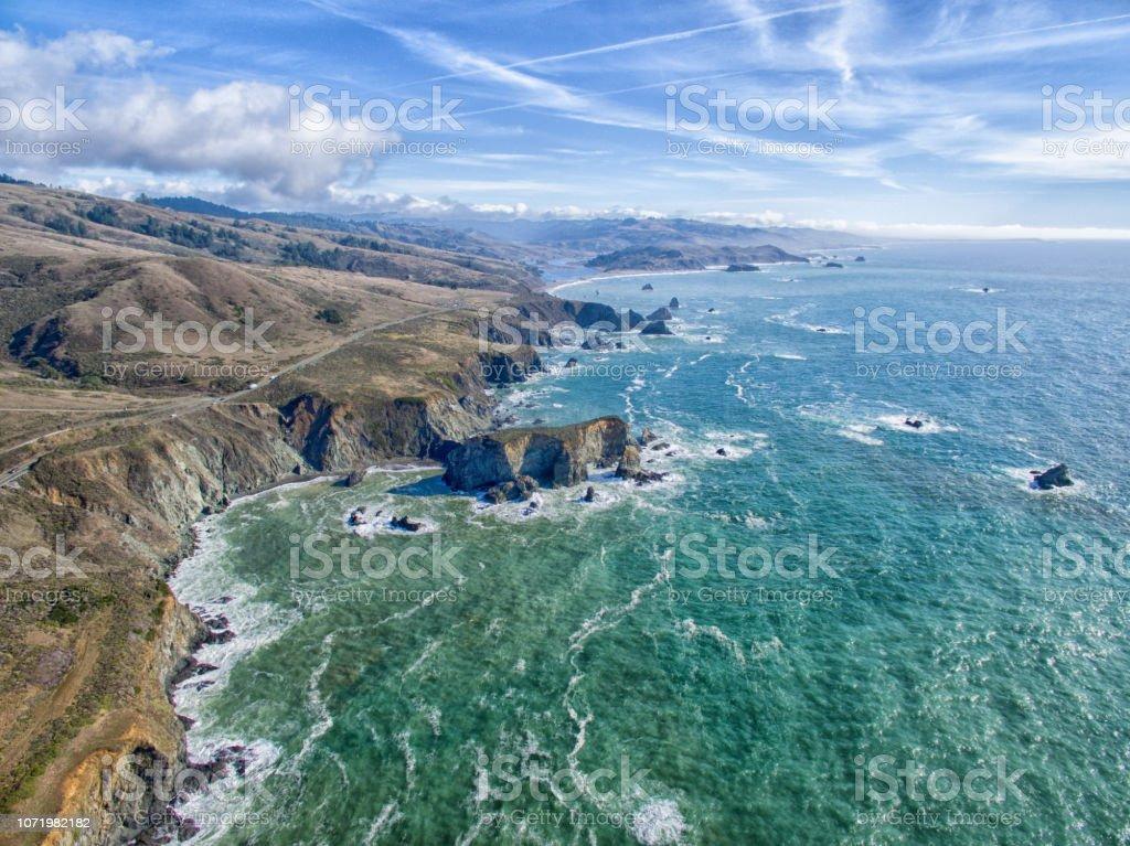 Nord-Kalifornien Küste Luftbild Drohne Blick auf Pazifischen Ozean Seelandschaft – Foto