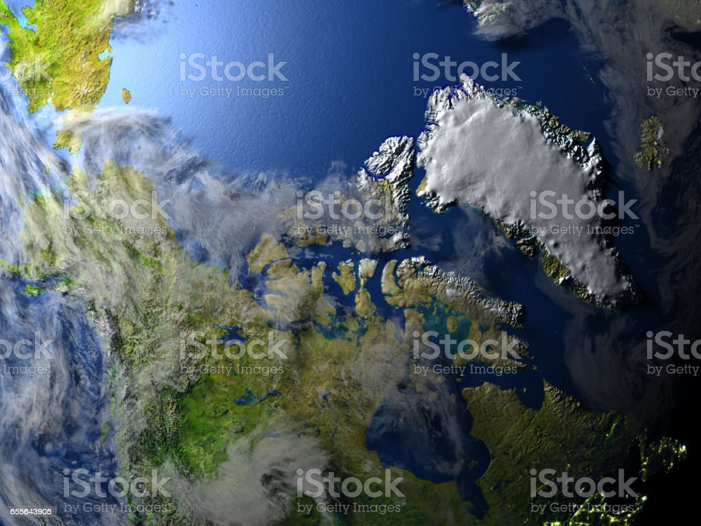 Northern Canada and Greenland on planet Earth stock photo