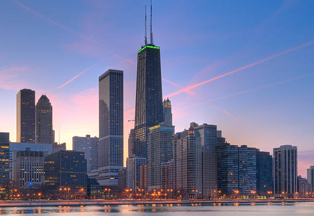Northern Chicago Skyline at Sunset stock photo