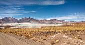 Amazing Lake Miscanti in the highlands of Chile near San Pedro de Atacama and Salar de Tara, a beautiful salty and surroundings