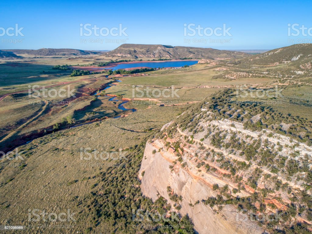 northern Colorado foothills aerial view stock photo