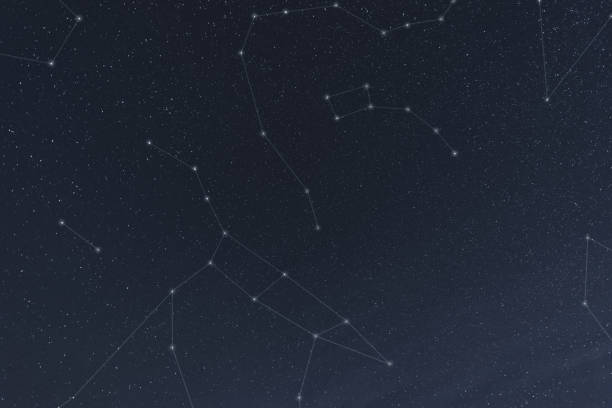 Northern Constellations Ursa Major, Ursa Minor and surrounding constellations nearest the North Star, Polaris.  Long exposure with chart overlay. big dipper constellation stock pictures, royalty-free photos & images