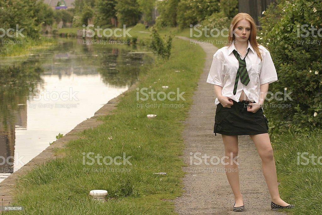 Northern English school girl royaltyfri bildbanksbilder