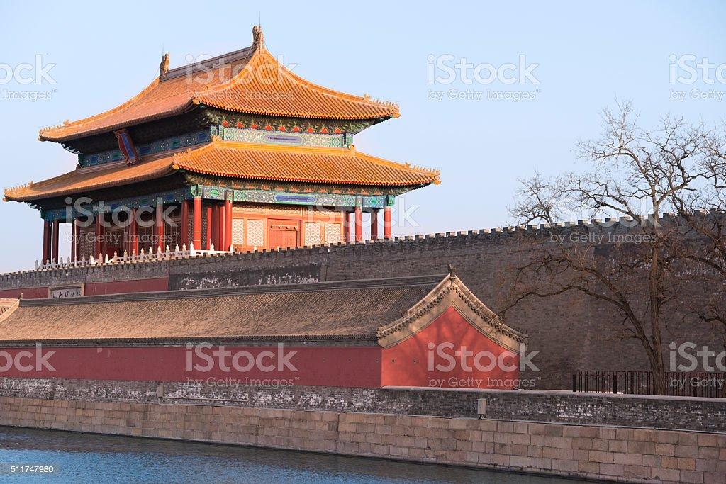 Northern gate of Forbidden City in golden evening sunlight stock photo