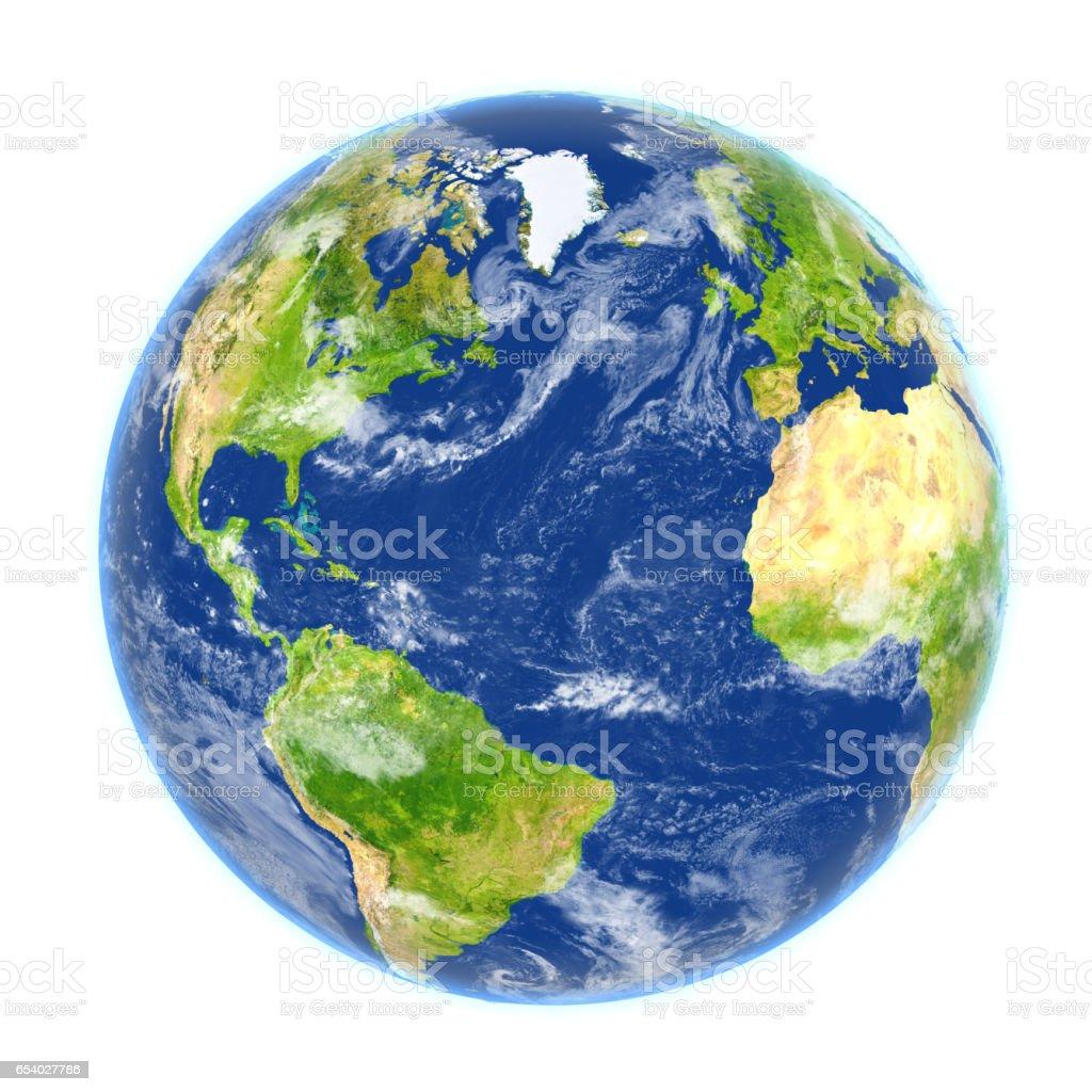 Nordhalbkugel der Erde isoliert auf weiss – Foto