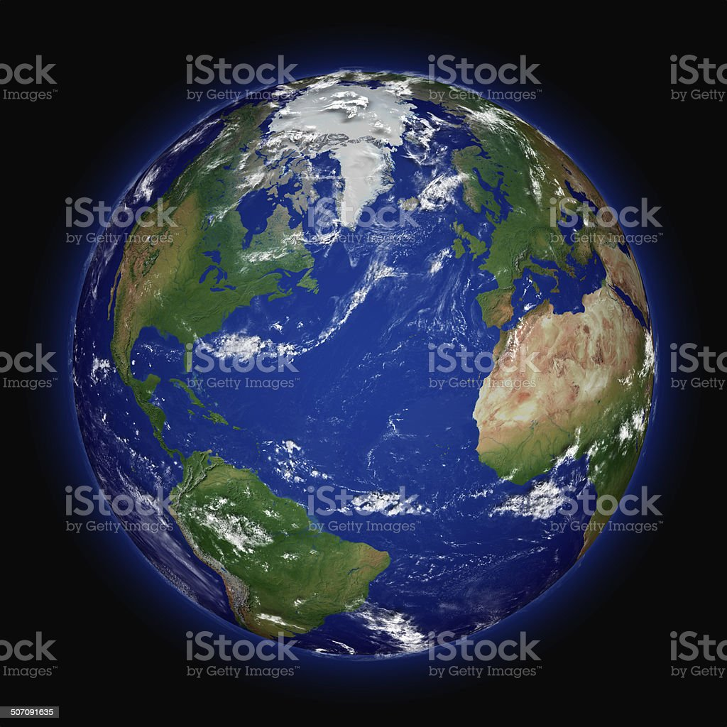 Northern hemisphere on planet Earth stock photo