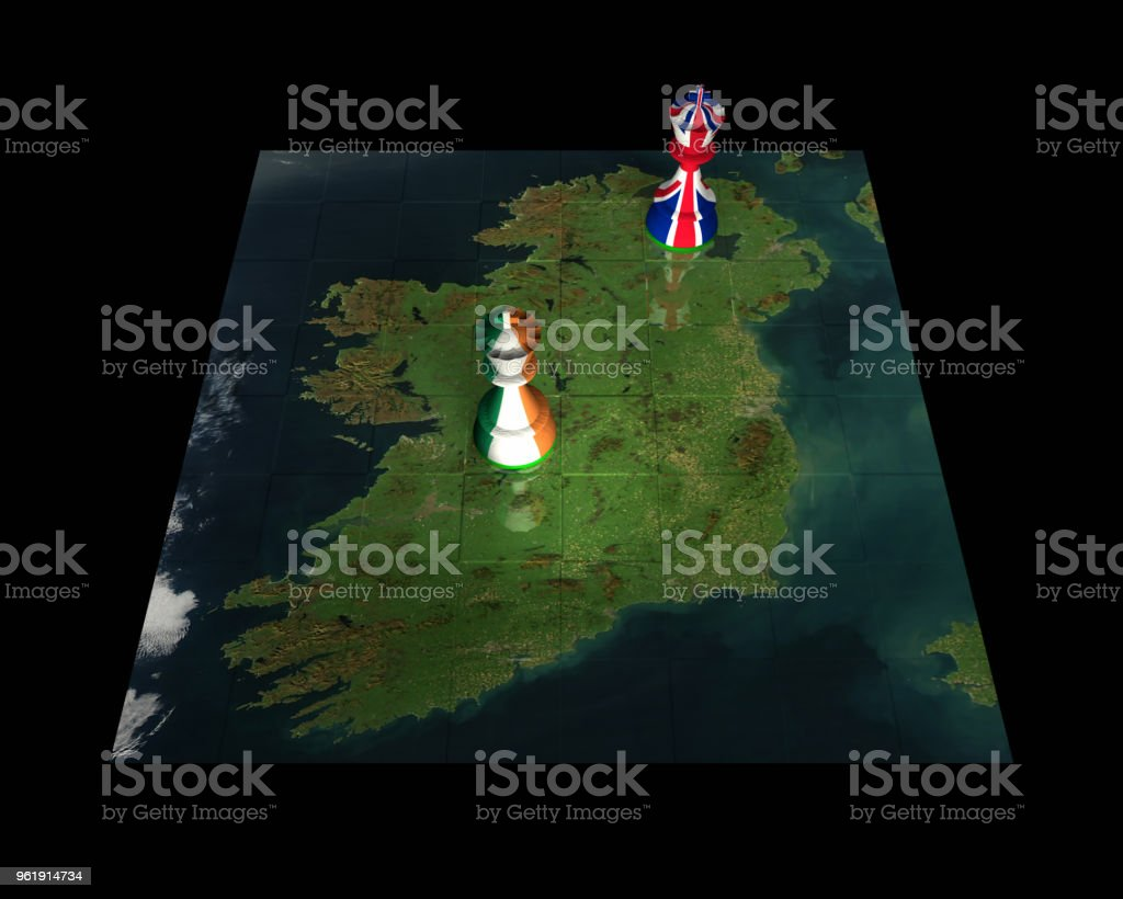 Northern Ireland and Eire Chess Standoff stock photo