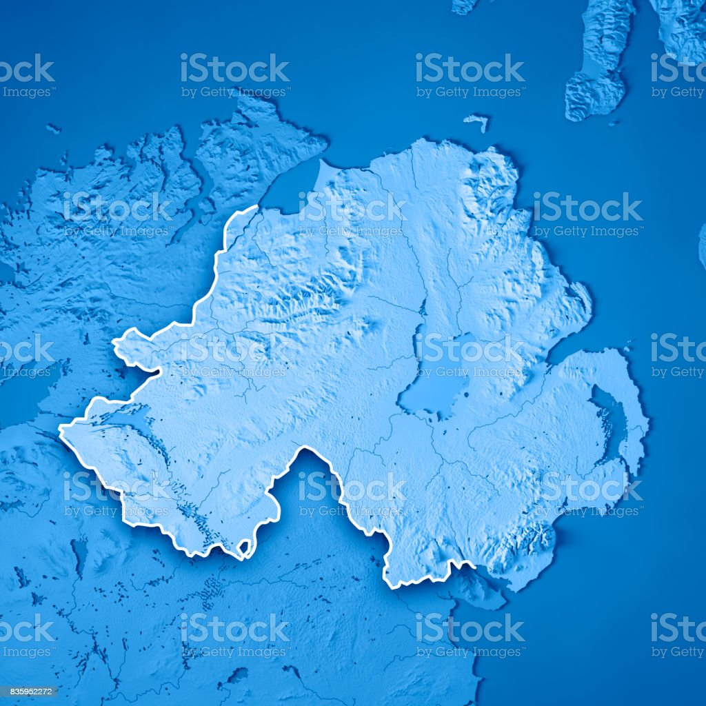 Northern Ireland Country 3D Render Topographic Map Blue Border stock photo