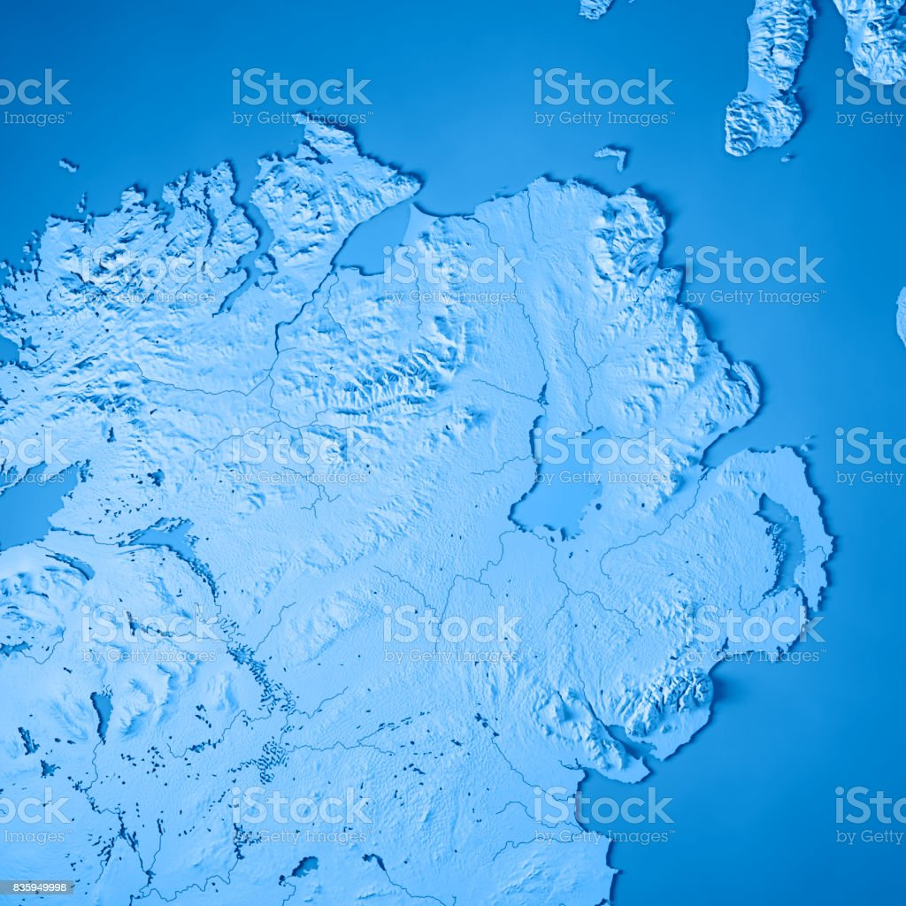 Northern Ireland Country 3D Render Topographic Map Blue stock photo