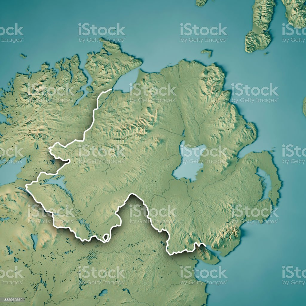 Northern Ireland Country 3D Render Topographic Map Border stock photo