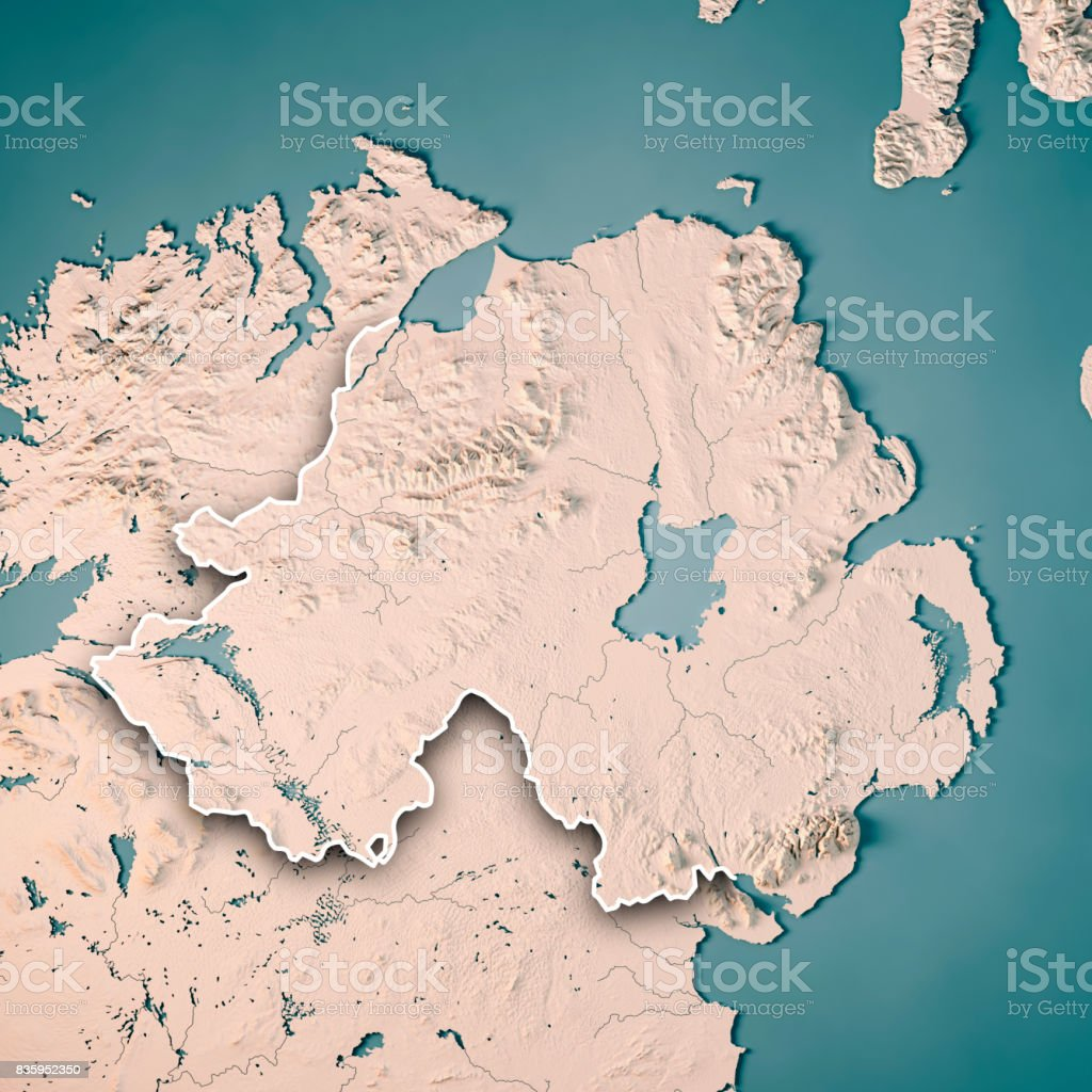 Northern Ireland Country 3D Render Topographic Map Neutral Border stock photo