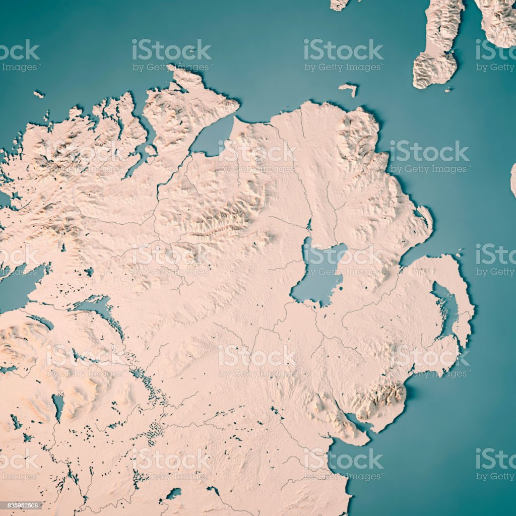 Northern Ireland Country 3D Render Topographic Map Neutral stock photo