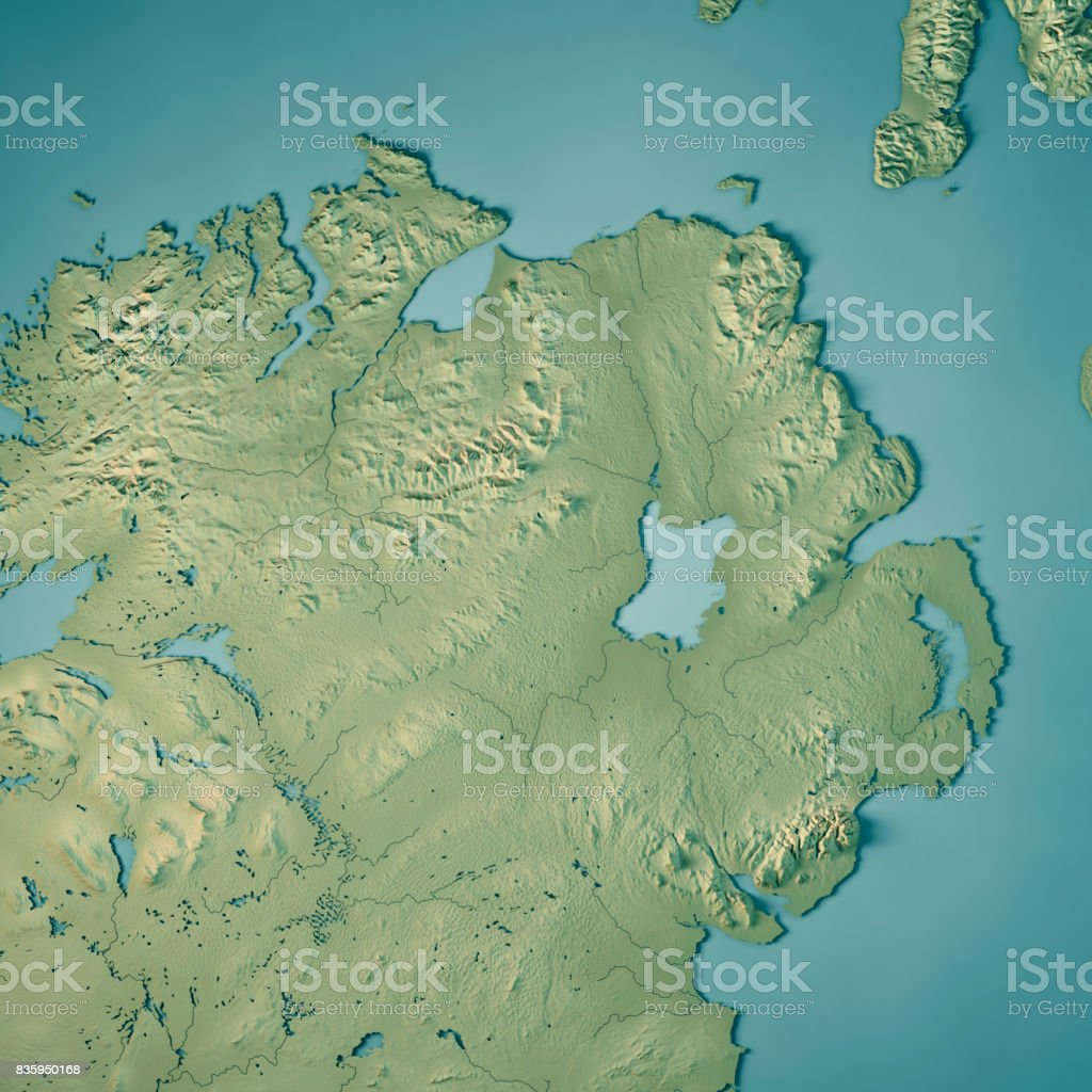 Northern Ireland Country 3D Render Topographic Map stock photo