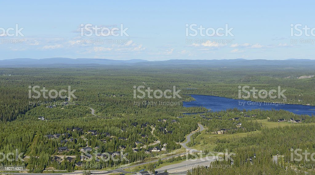 Northern landscape with blue lake and cottage settlements royalty-free stock photo