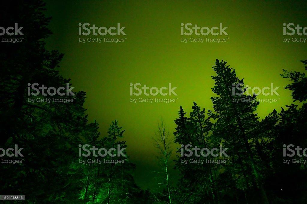Northern light at Rovaniemi, Finland stock photo