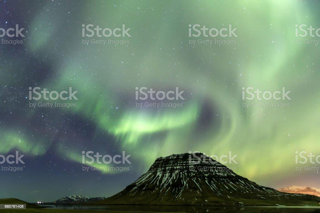 Northern Light Aurora borealis at Kirkjufell Iceland ロイヤリティフリーストックフォト
