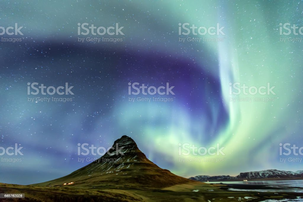 Northern Light Aurora borealis at Kirkjufell Iceland foto stock royalty-free