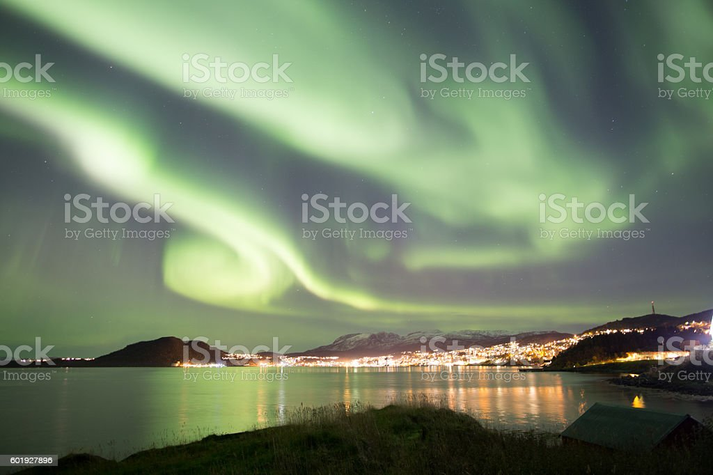Northern light (aurora borealis) stock photo