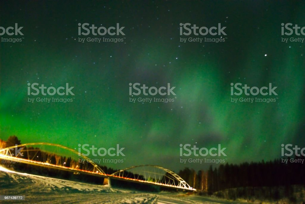 Northern Lights above river stock photo