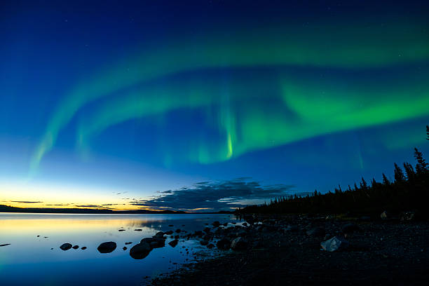 Northern Lights After Sunset stock photo