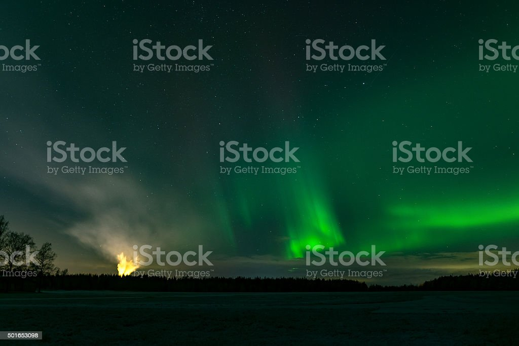 Northern lights and hellfire stock photo