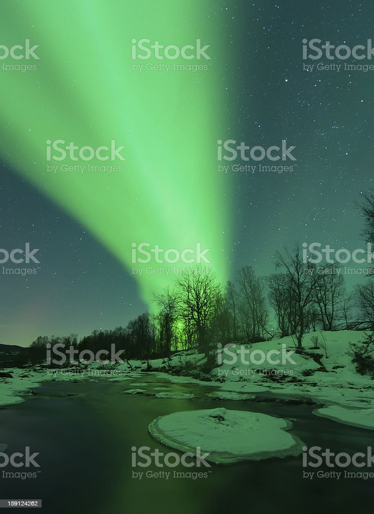Northern Lights and river royalty-free stock photo