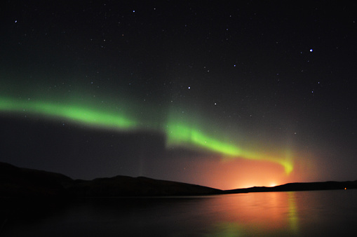 Northern Lights And Stars On Shetland Islands Stock Photo - Download Image Now