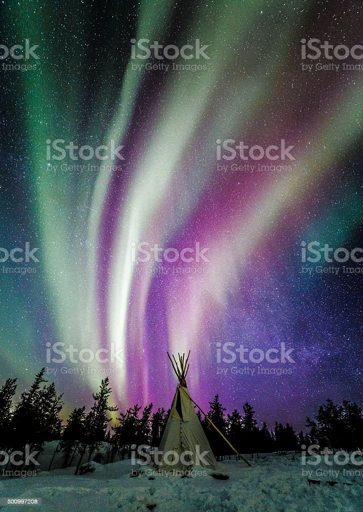 Northern lights and the Milky Way stock photo