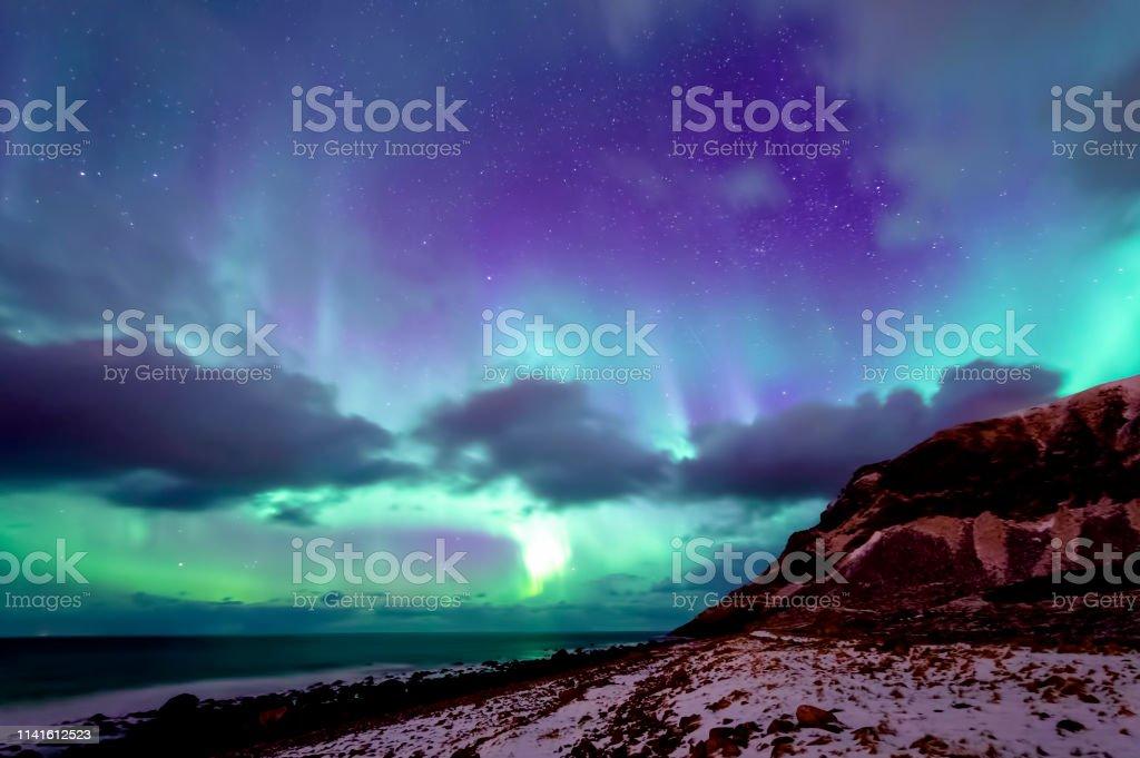 Unstad Beach kuzey ışıkları stok fotoğrafı