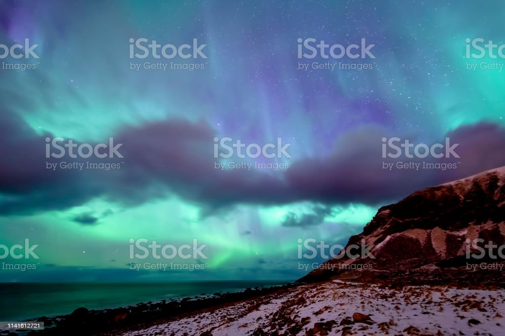 Northern Lights at Unstad Beach royalty-free stock photo