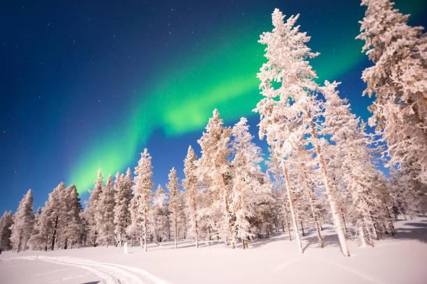 オーロラ、フィンランドのラップランドでオーロラが見られます ストックフォト