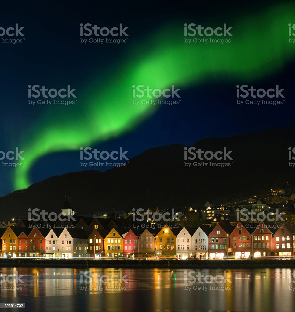 Northern lights - Aurora borealis over Bryggen in Bergen, Norway stock photo