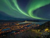istock Northern lights - Aurora borealis over harbor of Bergen City, Norway 689014962