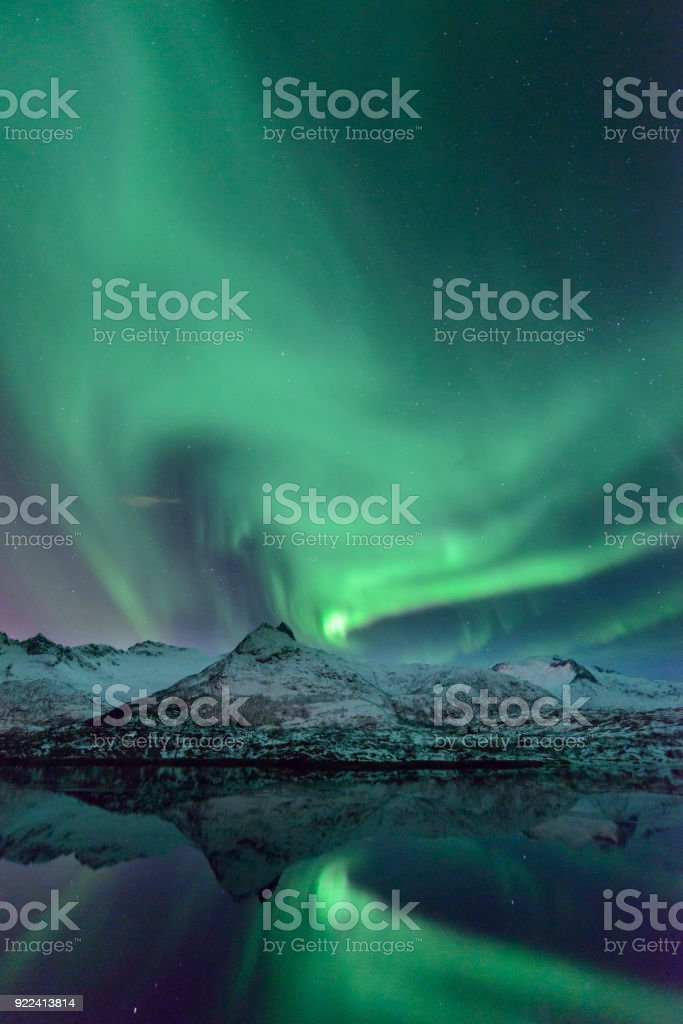 Northern Lights, Aurora Borealis over the Lofoten Islands in Northern Norway during winter stock photo