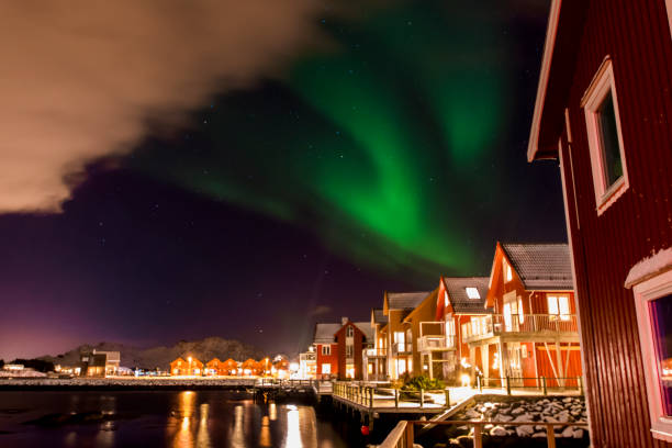 Luces del Norte Aurora boreal - foto de stock