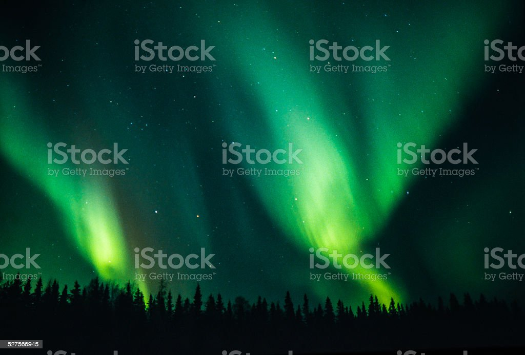 Northern lights couple stock photo