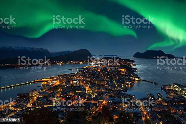 Northern Lights Green Aurora Borealis Over Alesund Norway Stock Photo - Download Image Now