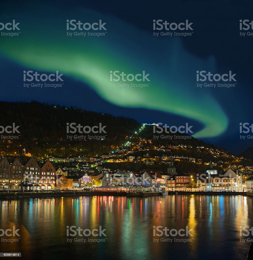 Northern lights - Green Aurora Borealis over Bergen, Norway stock photo