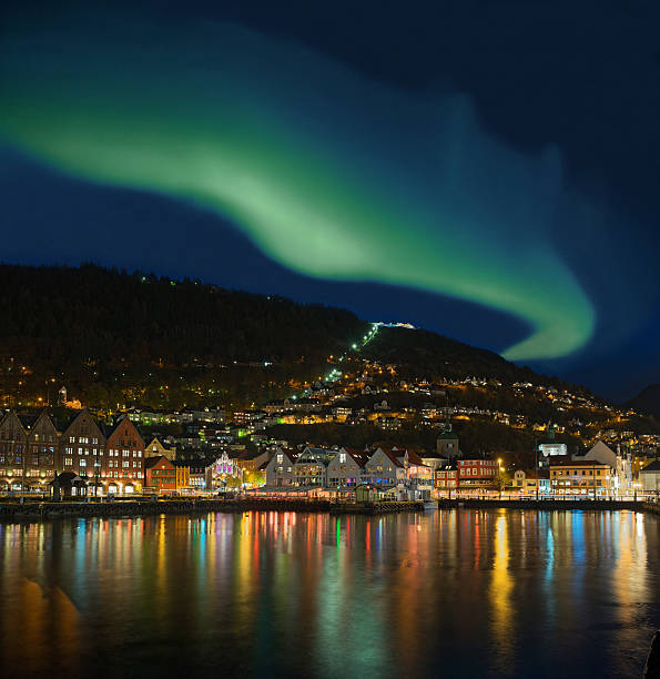 Northern lights - Green Aurora Borealis over Bergen, Norway - Photo