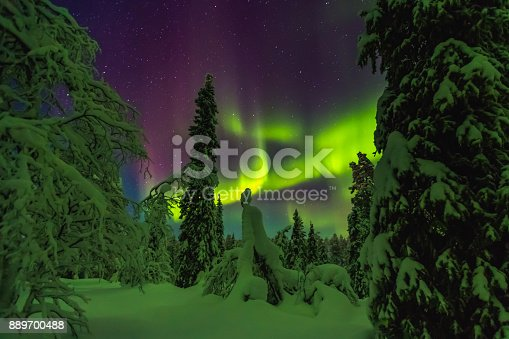 istock Northern lights in Finish Lapland 889700488