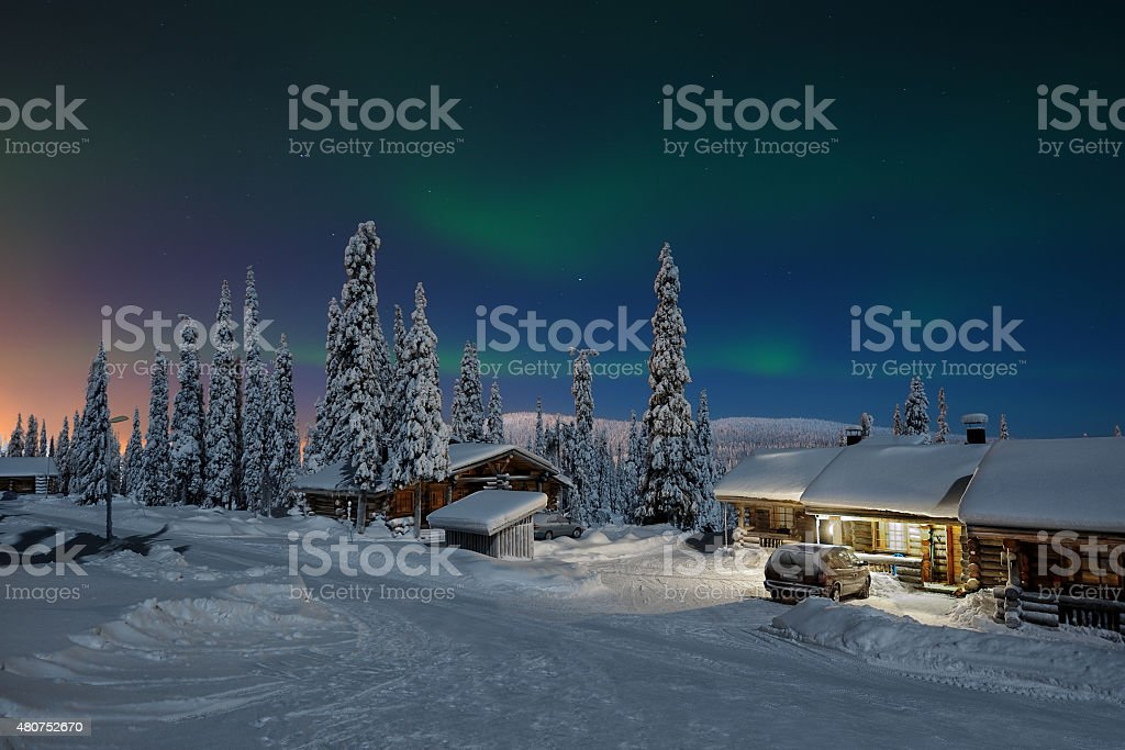 Northern lights in Lapland stock photo