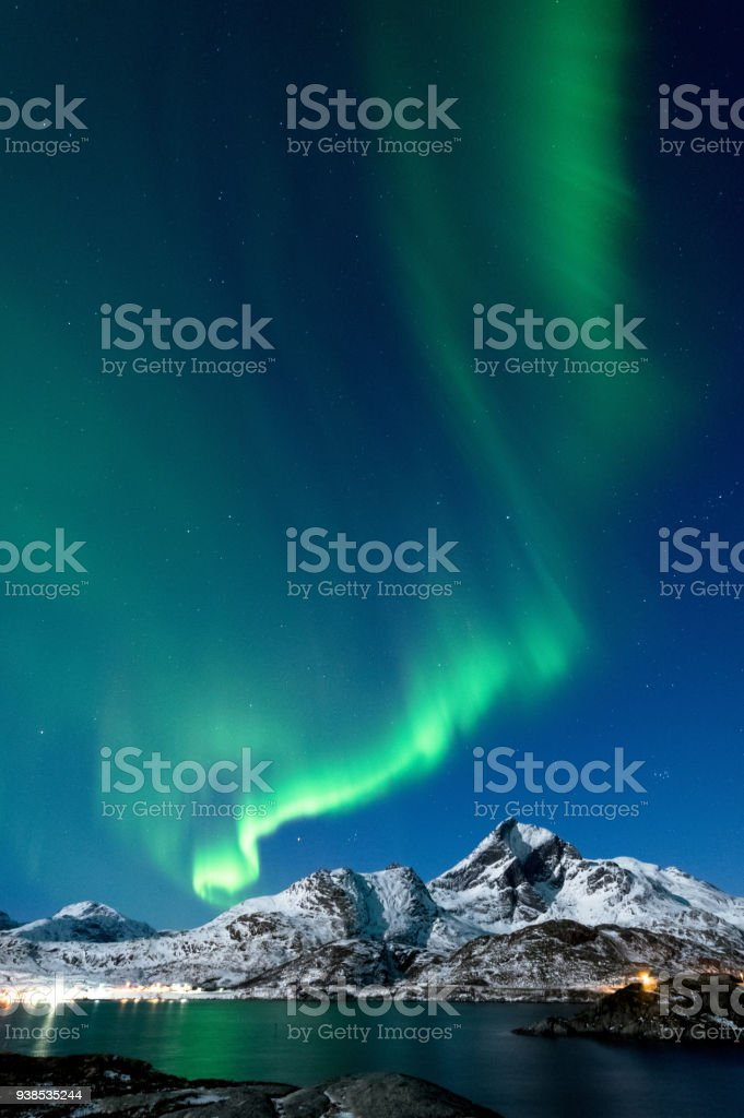 Northern Lights in Lofoten Islands, Norway royalty-free stock photo