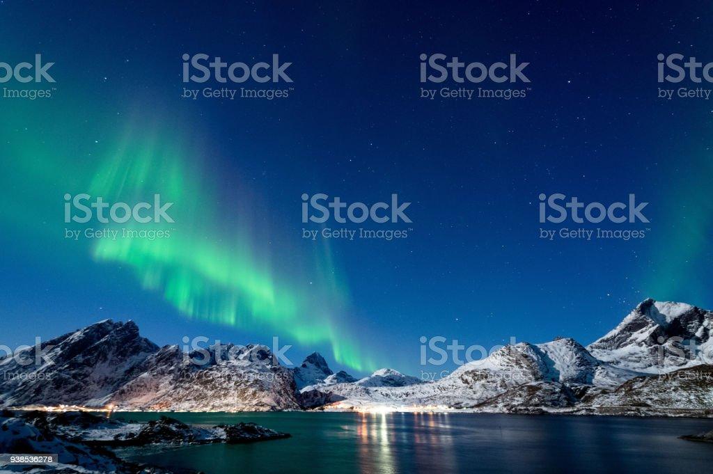 Kuzey ışıkları Lofoten Adaları, Norveç stok fotoğrafı