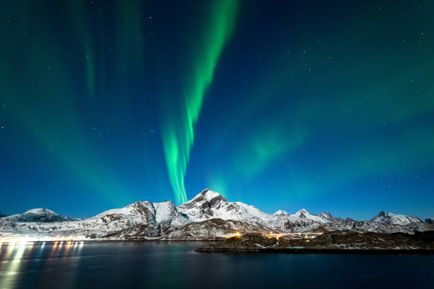 Northern Lights in Lofoten Islands, Norway stock photo