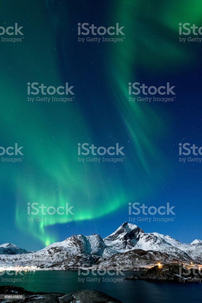 Northern Lights in Lofoten Islands, Norway royalty-free stock photo