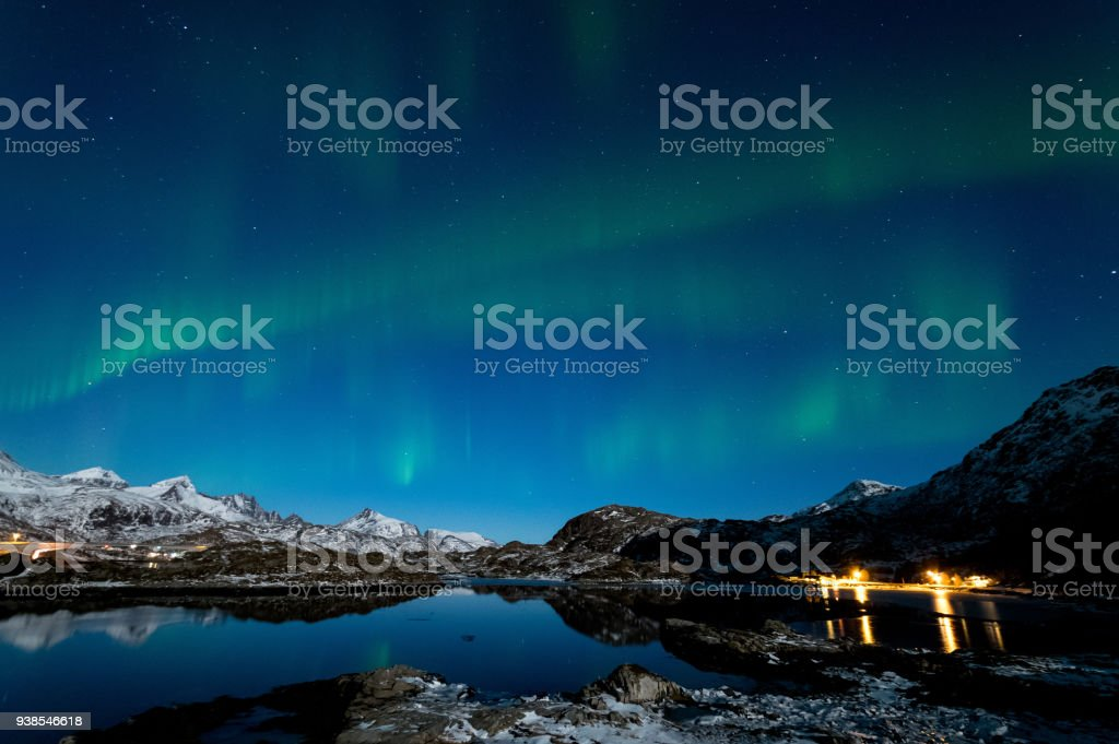 Northern Lights in Lofoten Islands, Norway Northern lights brighten up the cold winter night in Lofoten Islands, Norway Astronomy Stock Photo